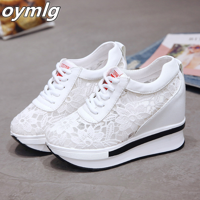 2020 Summer Women Shoes Wedge Mesh Lace Up Joker Small White Shoes Breathable Thick Bottom Platform Shoes Casual Sneaker Shoes