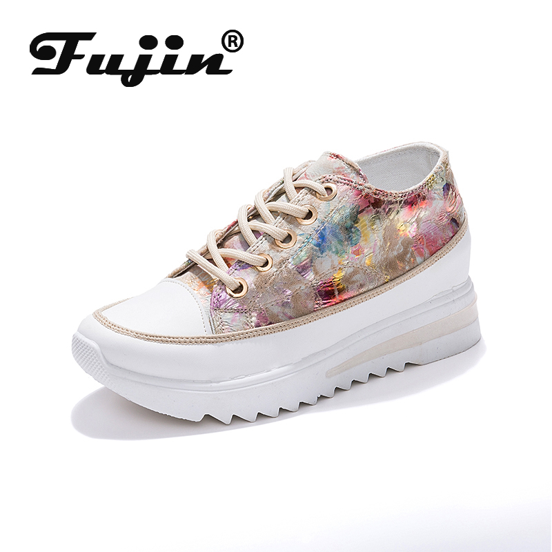 Fujin Platform Shoes Sneakers Women Spring 2020 Leisure Platform Thick Wedge Fashion Breathable Sewing Muffin Women Sneakers
