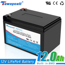 Novo 12v 12ah lifepo4 bateria recarregável diy bateria de lítio fosfato ferro célula solar 12v ue livre de impostos eua navio rápido