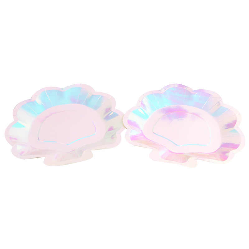 12Pcs Iridescent Shell Paper Plates Party Dish Tableware Mermaid Theme Festival for Baby Shower Wedding Party Supplies
