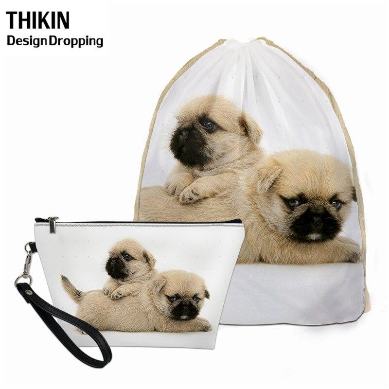 THIKIN Mini Travel Women 2pcs Drawstring Bag Sets 3D Pug Dog Printing Female Neceser Mujer Spring Summer Beach Backpack For Kids