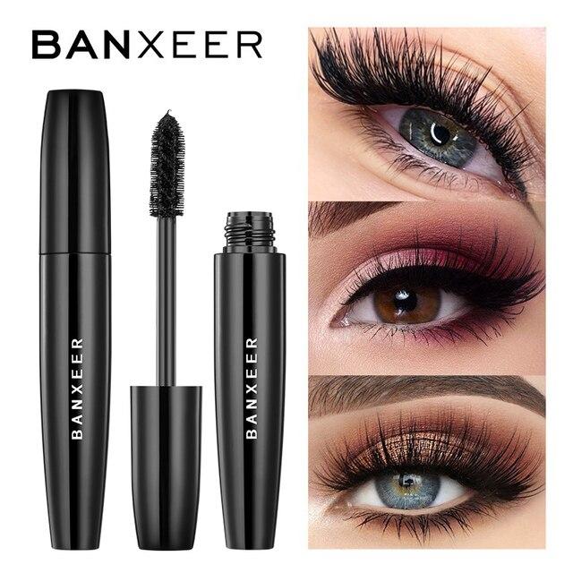 BANXEER 4D الحرير الألياف لاش الماسكارا للماء ريمل 3d الماسكارا رمش تمديد الأسود سميكة إطالة رموش ماكياج