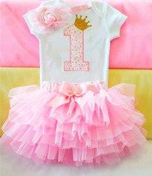 Meninas do bebê da criança vestido apliques roupas da menina recém-nascidos 1st vestidos de aniversário bonito pontos carta 1 vestido impresso vestido de bebê 1 ano