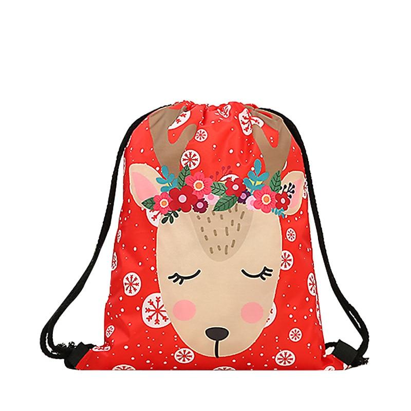 Fashion Drawstring Bag Men Unisex Printing  Mochila Feminina Drawstring Backpack Women Daily Casual 3d Christmas Bgas Bundle
