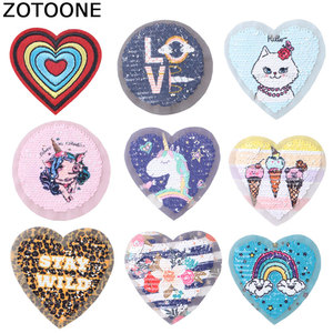 ZOTOONE Sequin Heart Patch Round Diy Sticker Iron Sew on Clothes Heat Transfer Applique Embroidered Applications Cloth Fabric G