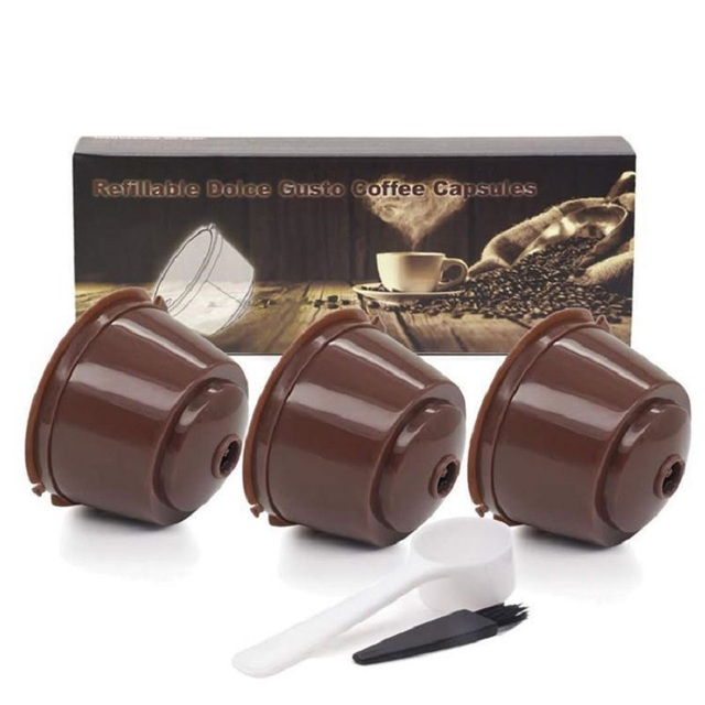 Color Box Package 3Pcs Refillable Dolce Gusto Coffee Capsule Filter With Spoon Brush Coffee Filter Set For Nespresso Cafeteria
