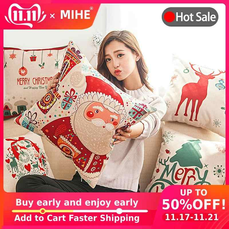 MIHE Decorative Cushions Sofa Christmas Decorations For Home decor Cushion Cover 45x45cm Car Seat New Year Throw Pillow Cases