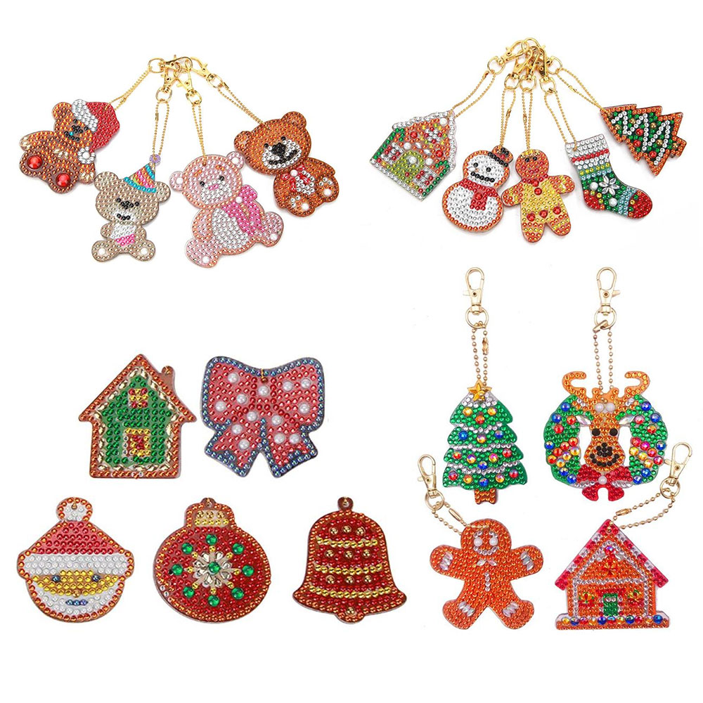 4/5Pcs Christmas DIY Full Drill Diamond Paintng Special-shaped Xmas Penguin Key Chains Christmas Gift For Kids Craft Toys Natal