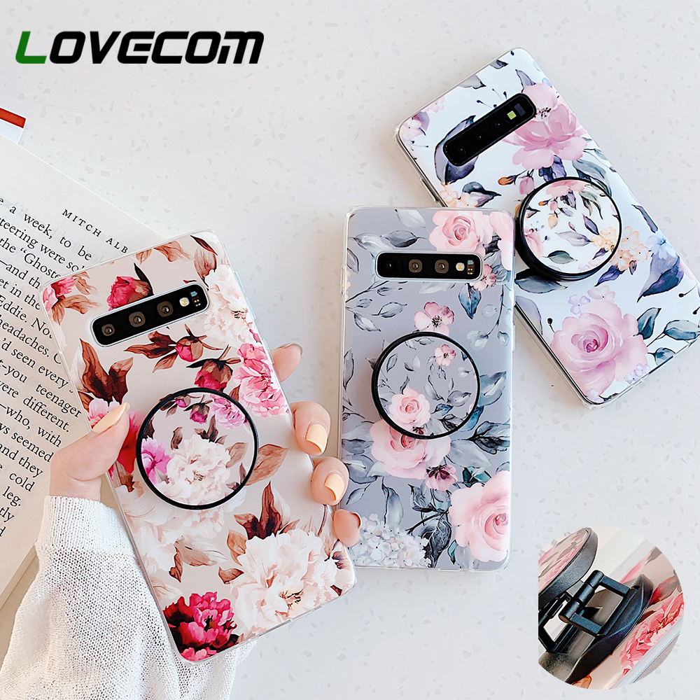 LOVECOM Retro <font><b>Flower</b></font> Phone <font><b>Case</b></font> With Holder For <font><b>Samsung</b></font> Note 10 Pro A50 <font><b>A70</b></font> <font><b>Case</b></font> For <font><b>Samsung</b></font> S8 S9 S10 Plus Soft IMD Phone Cover image