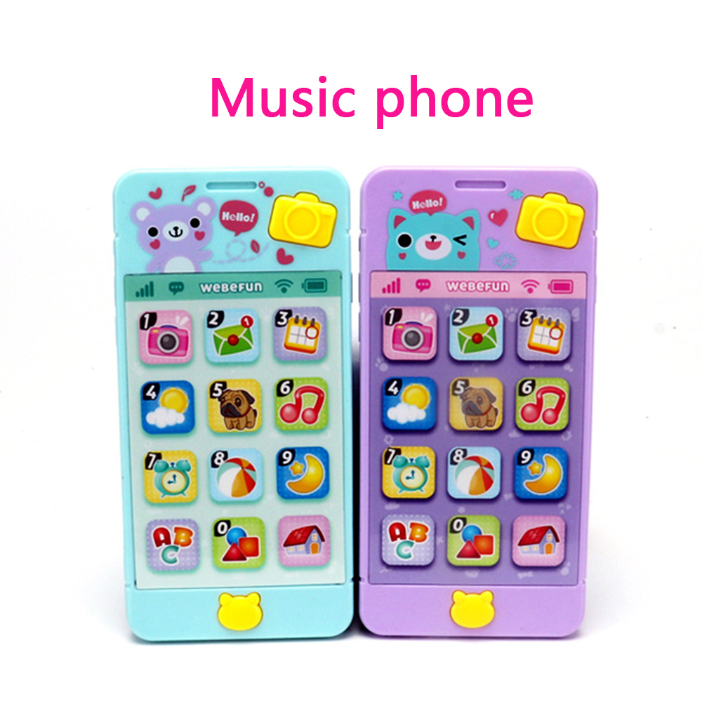 Baby Rattle Bed Toy Touch Screen Music Mobile Phone For Kids  Stroller Education Toy Newborn 0-12 Months Infant Child Toddler