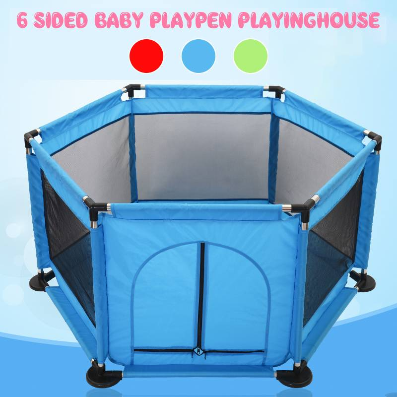 Baby Game Fence Folding Safety Barrier 0-6 Years Children Playpen Metal Support Oxford Cloth Waterproof Ball Pit Pool Kids Tent