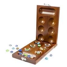 Jeu de stratégie en bois massif, pierres de verre Mancala, jeu de société pliable, jouets éducatifs précoces pour adultes et enfants, cadeau