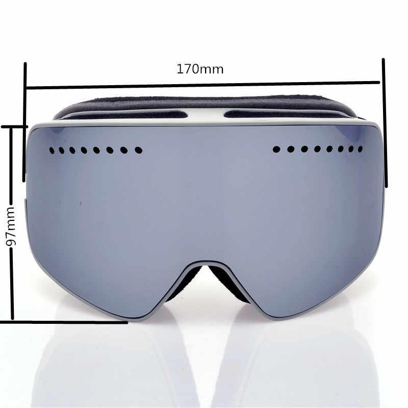Yeni mıknatıs kayak gözlüğü durumda marka profesyonel çift anti-sis büyük Lens mıknatıs kayak gözlüğü maskesi kayak Snowboard gözlük