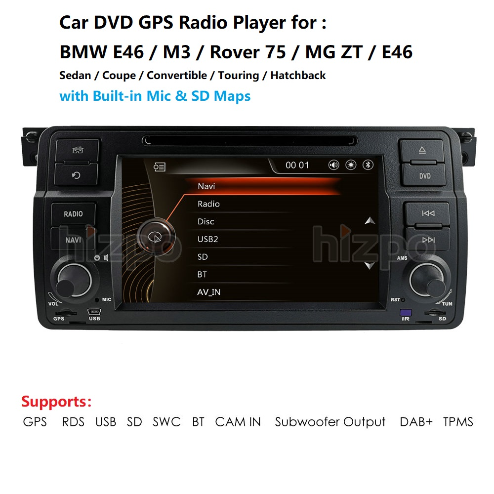 Car multimedia player DAB+ Autoradio DVD GPS for BMW E46 M3 325 3er 318 <font><b>320</b></font> Rover75 MG Navi RDS VMCD 8G Maps BT SWC AM/FM RDS CD image