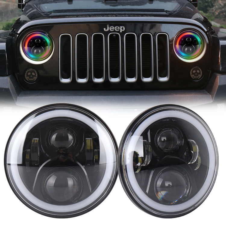 Cross-border Selling 7 Inch Jeep Wrangler RGB Headlight Cross-country Refitted With Monkey Bluetooth Angel Eyes Light
