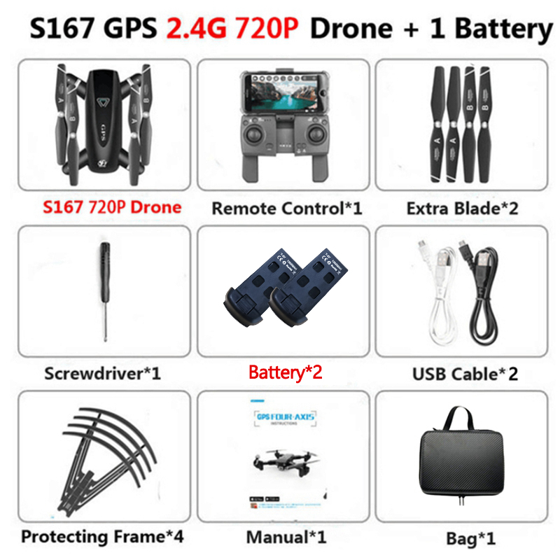 S167GPS 5G Wifi Mini Drones 4K HD Profissional Drone Cameras Foldable Quadcopter Automatic Return Hight Hold Mode RC Drones Toys