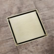 New Brushed gold brass 100*100mm bathroom floor drain shower room drainer insert tile invisible(China)