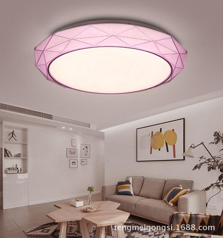 LED Minimalistische Moderne Slaapkamer Lamp Plafond Lamp Warme En Romantische Drie-Kleur Electrodeless Afstandsbediening Kamer Lampen Cirkel Dim