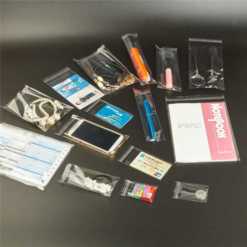 100 Pcs Bening Plastik Perekat Tas Penyegelan Diri Perhiasan Permen Packing Ditutup Kembali Hadiah Kue Kemasan Tas