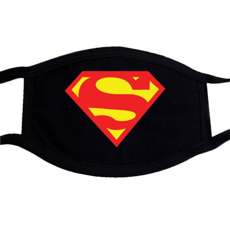 Iron Man The Avenger Superman Printed Mask Cotton Unisex Black Casual Warm Winter Funny Washable Mask Dustproof Mouth-Muffle