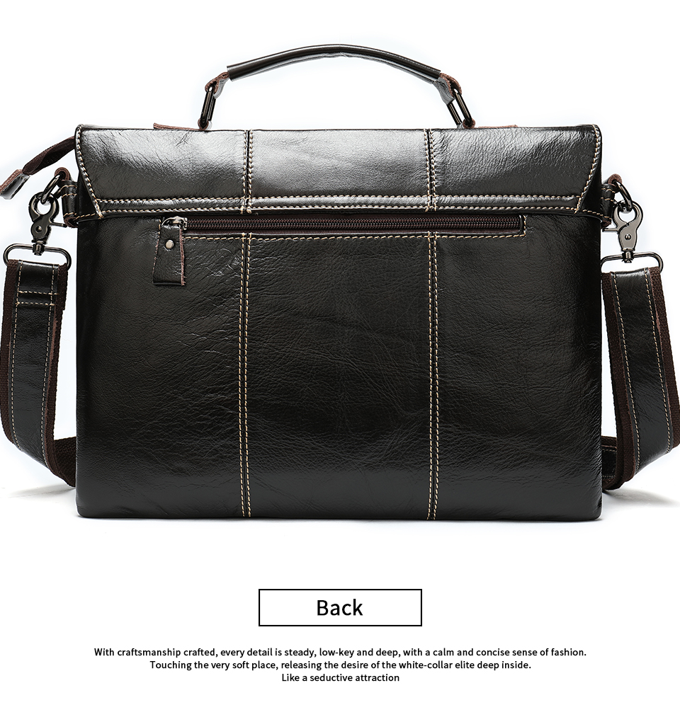 H6b6fd4279a1f426488e06e40fb66d98dL Bag Men's Briefcase Genuine Leather Office Bags for Men Leather Laptop Bags Shoulder/Messenger Bag Business Briefcase Male 7909