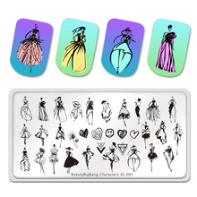 BeautyBigBang Nail Stamping Plates Characters Lines Fashion Woman Stamp Template