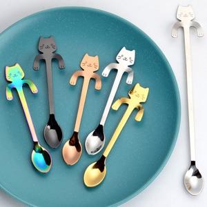 11.5cm Cute Cat Coffee Spoon Stainless Creative Cat Spoon Teaspoon Dessert Snack Scoop Ice Cream Mini Spoons Tableware Wholesale