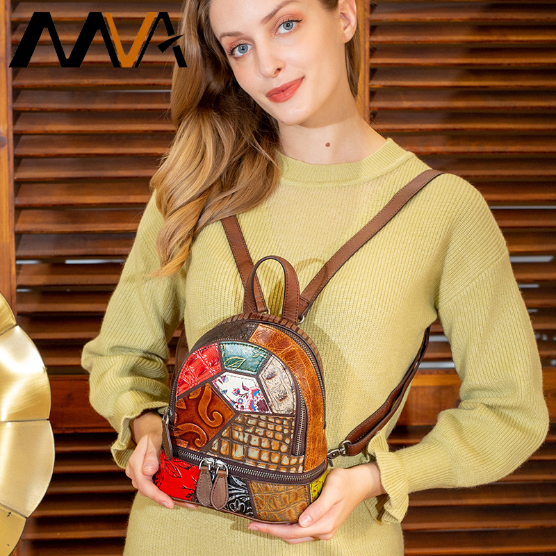MVA Patchwork Backpack Women Small Genuine Leather Travel Backpack Laptop Mini School Bags For Women Back Bag Feminina Backpacks