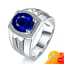 925-Silver Jewelry Finger-Rings-Accessory Men Ring Gemstone Sapphire Wedding-Engagement