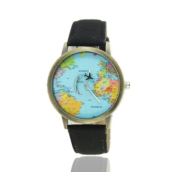 World Maps Airplane Pattern Canvas Straps Watchband Fashionable Design Quartz Movement Wrist Watches for Drop Shipping fashionable color block and leaf pattern design satchel for women