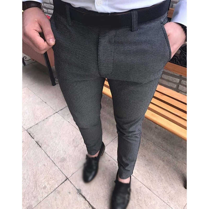 Men suit pants Slim straight Trousers with pockets 2019 office basic Casual Zipper Mid-Rise Solid Color Business male pants