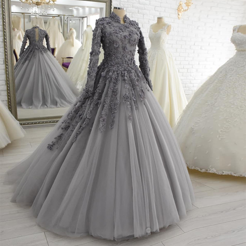 Princess High Neck Long Sleeve 3D Flowers Lace Up Back Ball Gown Long Muslim Prom Dress Party Gown