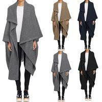 2019 ZANZEA Women Waterfall Long Trench Coats Winter Loose Jackets Cardigan Lapel Neck Wool Cape Poncho Femininas Solid Outwear
