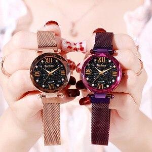Image 4 - Women Watch Luminous Starry Sky Bracelet Fashion Clock Woman Stainless Steel Ladies Wrist Watches Zegarek Relogio Feminino Xfcs