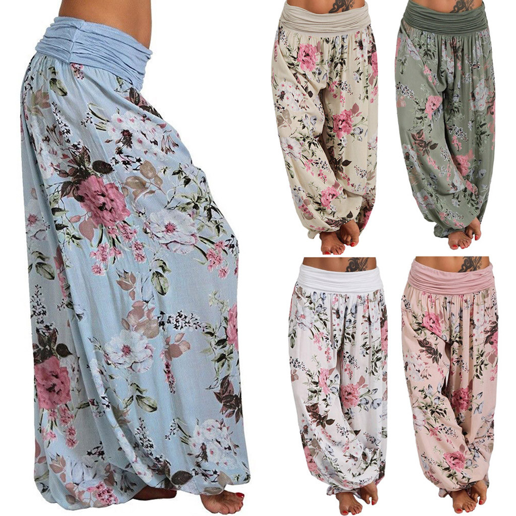 Harem Pants Plus Size S-5XL Women HOT Sale Casual Floral Print Wide Leg Loose Pocket Fashion Long Pants Freeship брюки