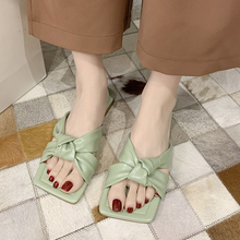 Rimocy Solid Color Cross Strap Ladies Flat Slippers Soft Bottom Leather Beach Sandals Women Summer 2020 Outdoor Slides Woman
