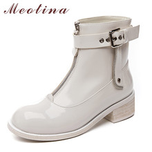 Meotina Short Boots Women Shoes Patent Leather Mid Heel Ankle Boots Round Toe Thick Heels Buckle Zip Female Boots Beige Size 42 haraval handmade winter woman long boots luxury flock round toe soft heel shoes elegant casual warm retro buckle solid boots 289