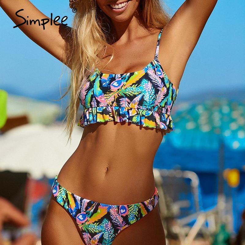 Simplee Tropical Leaves Print Woman Swimsuit Separate Two Piece Bandeau Bikini 2020 New Ruffle Swimwear Women Suit Biquinis
