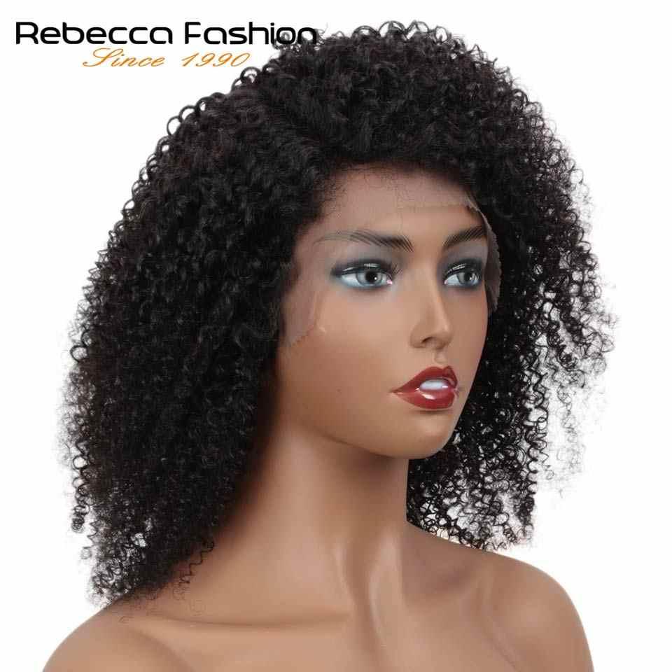 Rebecca prawy częściowo koronka przodu peruki z krótkim bobem Afro perwersyjne kręcone i Jerry kręcone ludzkie włosy peruki dla kobiet wstępnie oskubane ludzki koronkowy peruka