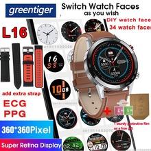 Greentiger L16 inteligentny zegarek mężczyźni ekg PPG tętno ciśnienie krwi IP68 wodoodporny wiele sport Smartwatch VS L11 L13 L15 L8 tanie tanio CN (pochodzenie) Brak Na nadgarstku Wszystko kompatybilny 128 MB Passometer Fitness tracker Uśpienia tracker Wiadomość przypomnienie