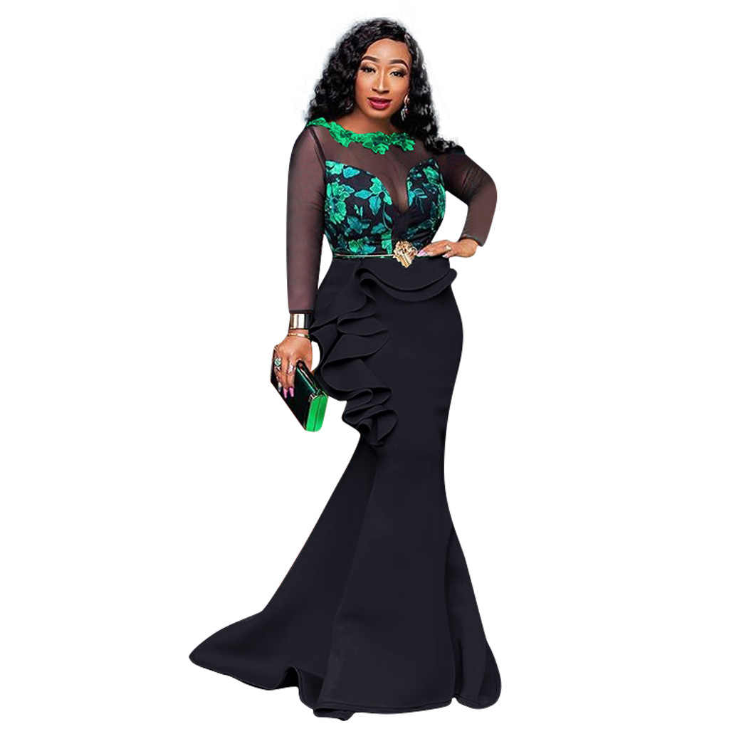 2020 แอฟริกันสุภาพสตรี Bodycon Long Mermaid ชุดเซ็กซี่โปร่งใสตาข่าย Ruffles ผู้หญิงงานแต่งงานชุดราตรี Maxi