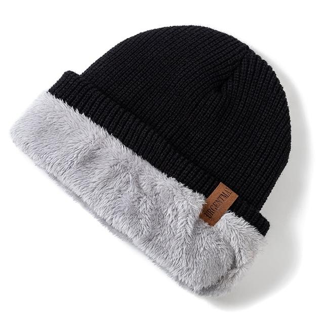 New Unisex Letter Beanie Hat Leisure Add Fur Lined Winter Hats For Men Women Keep Warm Knitted Hat Fashion Solid Ski Bonnet Cap 4