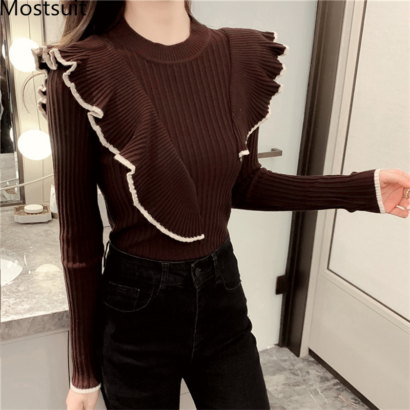 2019 Winter Ruffles Knitted Slim Pullovers Sweaters Women Long Sleeve O-neck Korean Casual Fashion Female Tops Jumpers Femme