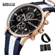 BAOGELA הכרונוגרף חדש גברים קוורץ שעון להקת רשת נירוסטה זהב שעונים Slim גברים שעונים זכר Relogio ספורט שעוני יד