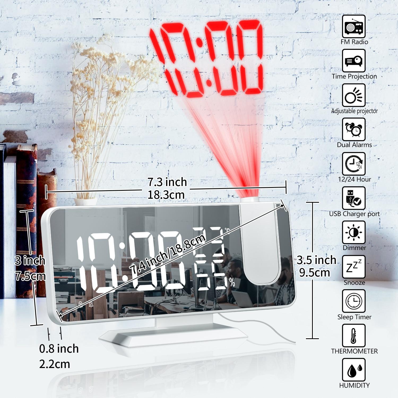 Светодиодный цифровой будильник, часы, настольные электронные часы, USB-пробуждение, FM-радио, проектор времени, функция повтора, 2 будильника, ...