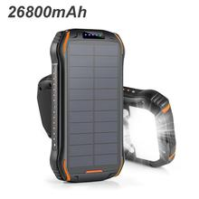 26800mah Solar Power Bank 3.1A Fast Charging Waterproof Powe