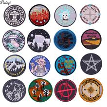 Pulaqi Elf Animal Round Patches For Clothes Mountain Badge Iron On Jacket Ironing Stickers Appliques Stripes