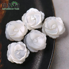 1pcs 12mm Pure White Natural Shell Carven 3D Rose Charms Bead Drill Through From Side Shell Bead Hollow DIY Jewelry Making 19038(China)
