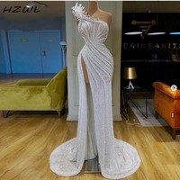 White Shiny Sequined Prom Dresses Sexy High Side Split Mermaid Evening Dress Pleats Pick Ups Appliques Party Gowns African Dubai