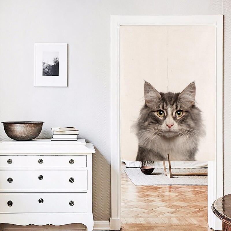 Tenda di ombreggiatura leggera creativa della finestra del ricamo del gatto pastorale americano della mezza tenda per il salone